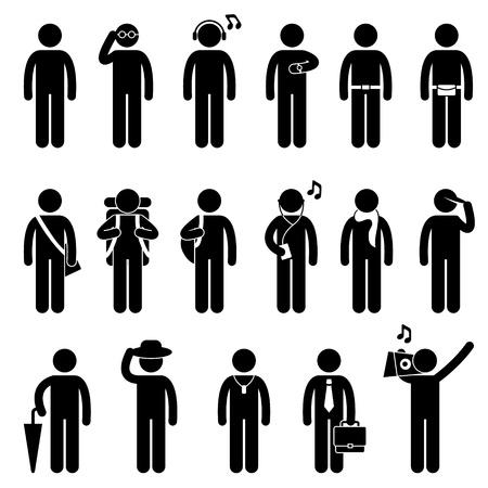 strichmännchen: Die Leute Mann männlich Fashion Wear Karosserie Zubehör Icon Symbol-Zeichen Piktogramm