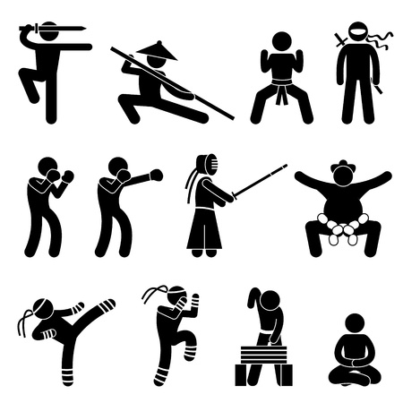 taiji: Kung Fu Martial Arts Self Defense Wushu cinese Ninja Boxer Kendo Sumo Muay Thai icona simbolo Pittogramma Sign Vettoriali