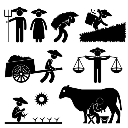 Bauer Bauernhof Arbeiter Farming Land Dorf Landwirtschaft Icon Symbol-Zeichen Piktogramm Vektorgrafik