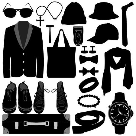 rasoir: Man Wear Homme V�tements Accessoires de mode Conception Illustration