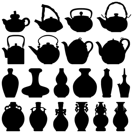Tea Teapot Wine Bottle Japanese Chinese Oriental Silhouette Vector