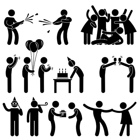 aplaudiendo: Grupo de amigos celebraci�n del cumplea�os del icono, s�mbolo, se�a Pictograma