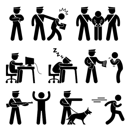 police dog: Security Guard Police Officer Thief Icon Symbol Sign Pictogram Illustration