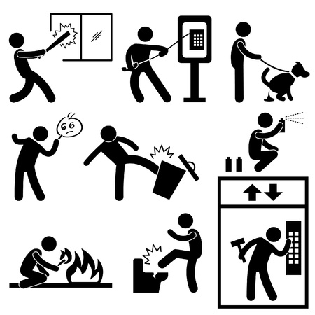 crimes: Bad Morale People Vandalism Gangster Icon Symbol Sign Pictogram Illustration