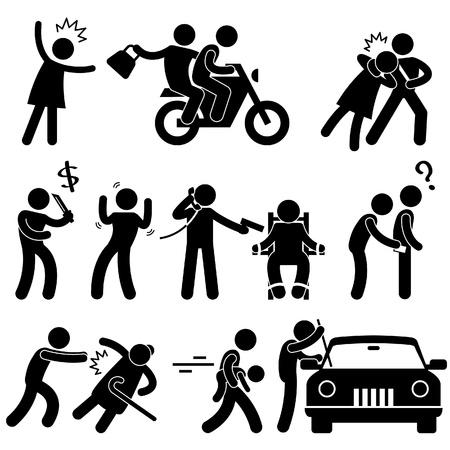 robo de autos: Ladrón Criminal Ladrón Ladrón Secuestrador Violador Icono símbolo Pictograma