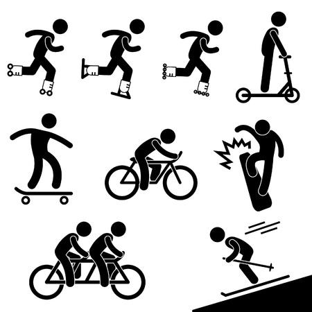 vespa: Patinaje y equitación icono de actividad Symbol Pictogram Ingresar