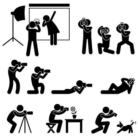 Paparazzi Cameraman Fotograf poza pozowanie symbolem ikonę piktogramu Sign
