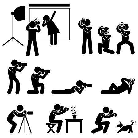 zooming: Photographer Cameraman Paparazzi Pose Posing Icon Symbol Sign Pictogram Illustration