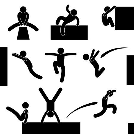 obstaculo: Parkour Escalada Hombre Saltando Saltando Acrobat Símbolo Icono Pictograma Ingresar