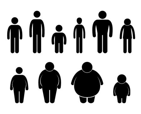 obesidad: El cuerpo del hombre figura tama�o de los iconos s�mbolo Pictograma