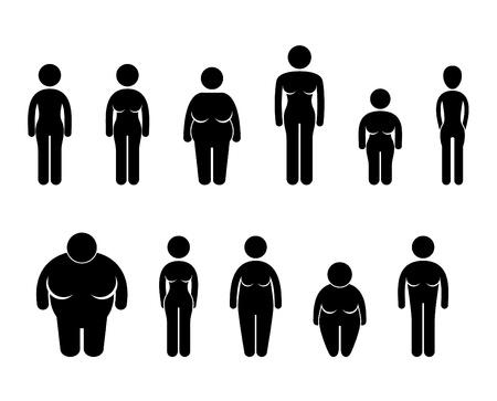 tetas: Woman Body Figura tamaño de los iconos símbolo Pictograma Vectores