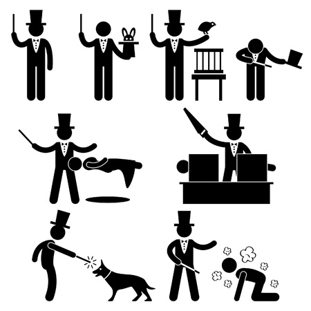 sorcerer: Magician Magic Show Icon Symbol Sign Pictogram Illustration