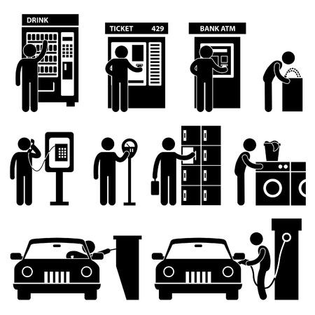 Hombre que usa Auto Icono Pública Machine Symbol Pictogram Ingresar