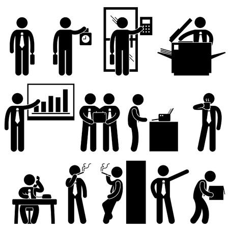 bonhomme allumette: Homme d'affaires d'affaires des employ�s en milieu de travail des travailleurs coll�gue Bureau de travail Pictogramme Connexion Ic�ne Symbole Illustration
