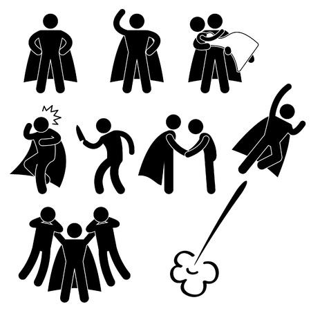 strichmännchen: Superhero Held Rettung Schützen Mädchen Fly Icon Symbol-Zeichen Piktogramm