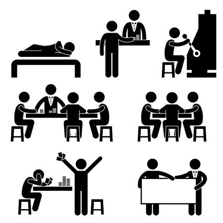 strichmännchen: Gambling Casino Menschen Man Host-Croupier Händler Jackpot Maschine Icon Symbol-Zeichen Piktogramm