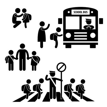 strichm�nnchen: Student Sch�ler Kinder Back to School Bus Crossing Road Traffic Police Icon Symbol-Zeichen Piktogramm Illustration