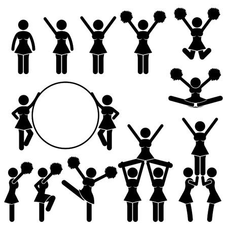 Cheerleader Supporter Team of School College University Icon Symbol Sign Pictogram Vector