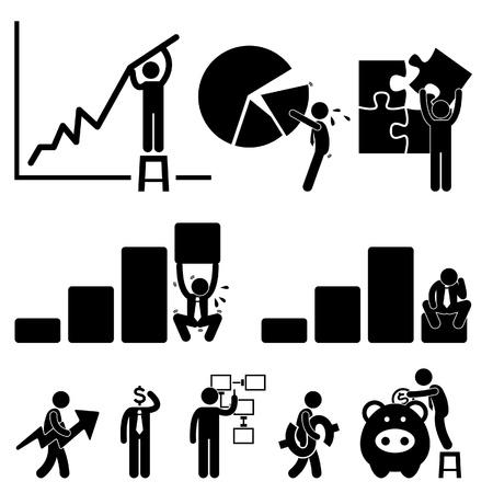 계획: 비즈니스 금융 차트 직원 작업자 사업가 솔루션 아이콘 기호 픽토그램 서명 일러스트