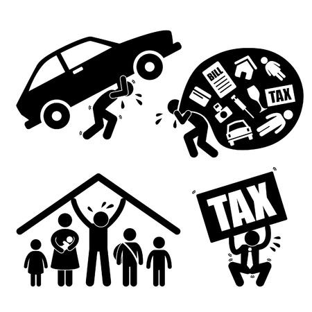 schuld: Man Familie Mensen financieel probleem Burden Spanning onderdruk Icoon symbool teken Pictogram