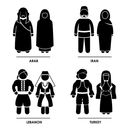 iran: West Asia - Arab Iran Lebanon Turkey Man Woman People National Traditional Costume Dress Clothing Icon Symbol Sign Pictogram