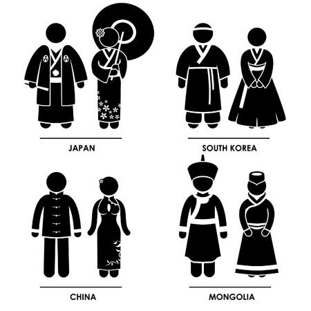 Asie de l'Est - Japon Corée du Sud Chine Mongolie Homme Femme national du peuple traditionnel Costume Vêtements Icône Connexion Pictogramme Symbole Vecteurs