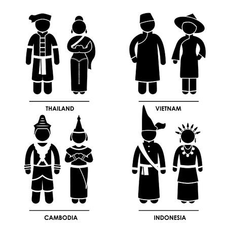indonesisch: Zuidoost-Azië - Thailand Vietnam Cambodja Indonesië Man Vrouw Mensen National Traditional Costume Dress Kleding Icoon symbool teken Pictogram