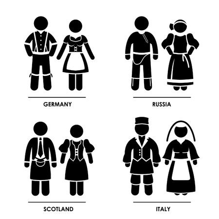 Europa - Duitsland Rusland Schotland Italië Man Vrouw Mensen National Traditional Costume Dress Kleding Icoon symbool teken Pictogram