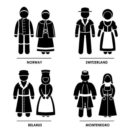 Europa - Noorwegen Zwitserland Wit-Rusland Montenegro Man Vrouw Mensen National Traditional Costume Dress Kleding Icoon symbool teken Pictogram