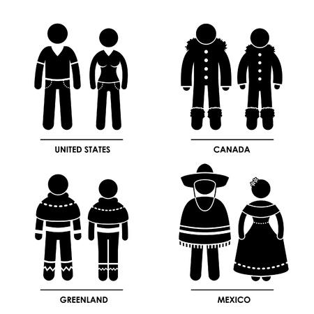 Noord-Amerika - Verenigde Staten Canada Groenland Mexico Man Vrouw Mensen National Traditional Costume Dress Kleding Icoon symbool teken Pictogram