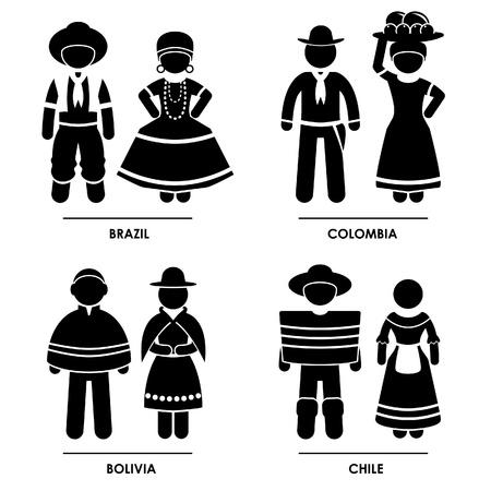 남미 - 브라질 콜롬비아, 볼리비아, 칠레 남자 여자 사람 국립 전통 의상 드레스 패션 아이콘 기호 픽토그램에게 회원 가입