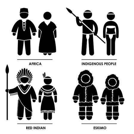regional: Africa Indigenous People Red Indian Eskimo Man Woman People National Traditional Costume Dress Clothing Icon Symbol Sign Pictogram Illustration
