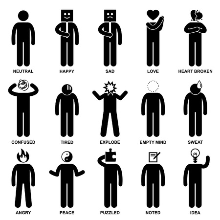 emotional: People Man Emotion Feeling Expression Attitude Stick Figure Pictogram Icon Illustration