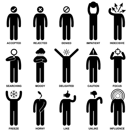 mind set: People Man Emotion Feeling Expression Attitude Stick Figure Pictogram Icon Illustration