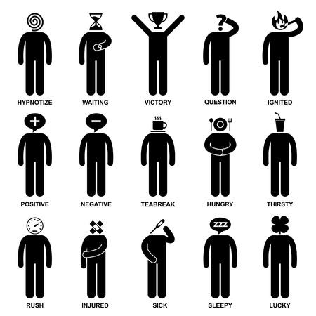 Gente Hombre Emoción Sentimiento Expresión Actitud Figura de palo Icono de pictograma Ilustración de vector