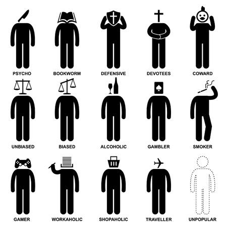 biased: Persone Uomo Caratteristica Comportamento Mente Attitude Identit� Stick Figure Icon Pittogramma