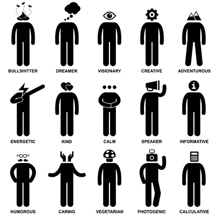trait: People Man Characteristic Behaviour Mind Attitude Identity Stick Figure Pictogram Icon