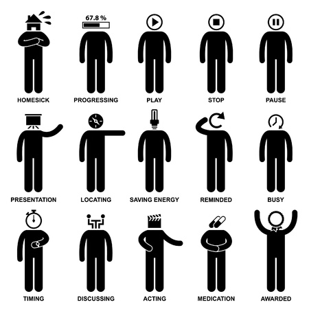 People Man Emotion Feeling Expression Attitude Action Stick Figure Pictogram Icon