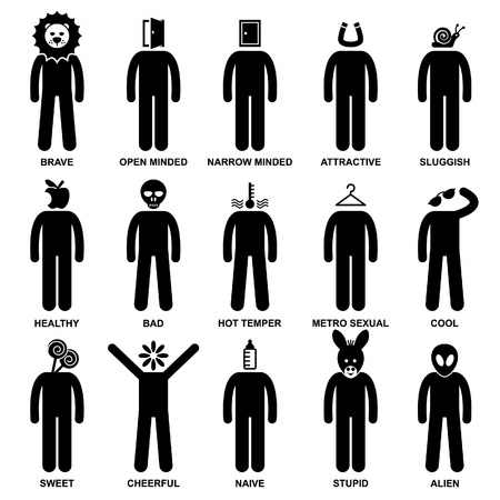 mind set: People Man Characteristic Behaviour Mind Attitude Identity Personalities Stick Figure Pictogram Icon