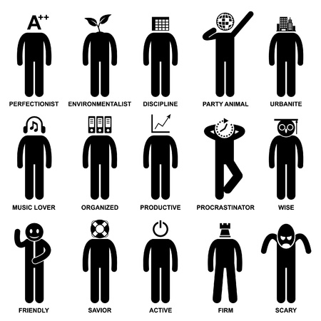 perfectionist: People Man Characteristic Behaviour Mind Attitude Identity Personalities Stick Figure Pictogram Icon