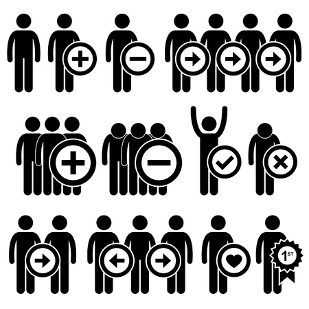 plus minus: People Man Business Human Resource Stick Figure Pictogram Icon Illustration