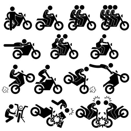 motorrad frau: Motorrad Motorrad Motorrad Stunt Man Daredevil Menschen Stick Figure Piktogramm Icon Illustration
