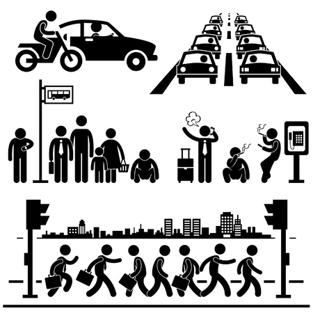 everyday people: Urban City Life Metropolitan Hectic Street Traffic Busy Rush Hour People Man Stick Figure Pictogram Icon