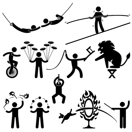the acrobatics: Ejecutantes de circo Acrobat Stunt Animal Personas Hombre Stick Figure Pictograma del icono Vectores