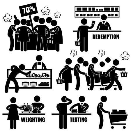 Supermercato Shoppers Mercato Pazzo Rushing Shopping Promotion Persone Man Stick Figure Pittogramma Icon