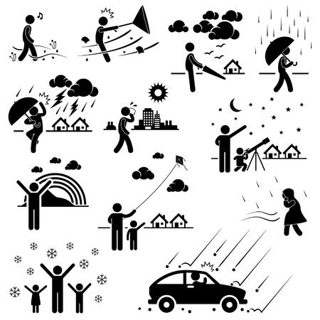 Meteo Clima Atmosfera Ambiente Meteorologia Stagione Persone Man Stick Figure Pittogramma Icona