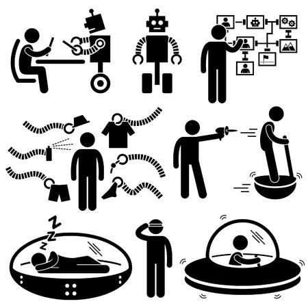 robot: La gente de la Tecnolog�a del Futuro Robot Icono Pictograma Stick Figure Vectores