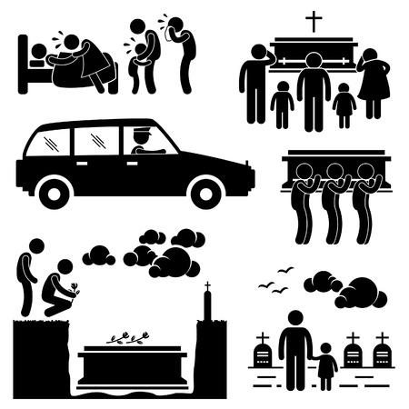 strichmännchen: Menschen Man Funeral Burial Coffin, Tod, tot Gestorben Stick Figure Piktogramm Icon