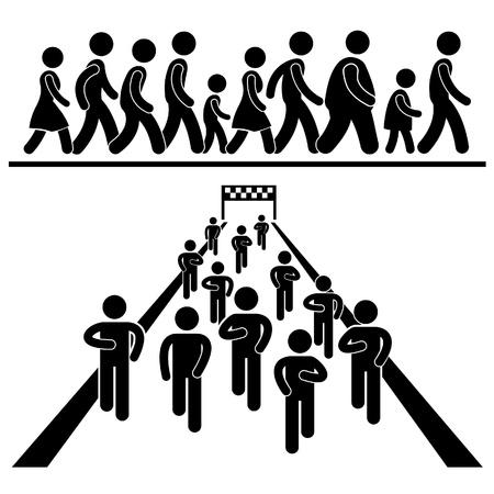 piktogram: Wspólnota chodzić i biegać Marching Marathon Rally Stick Figure Ikona Pictogram Ilustracja