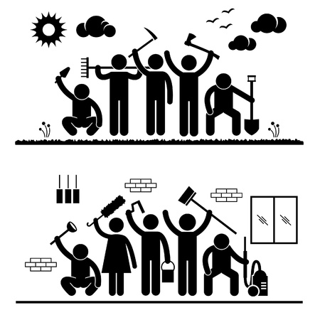 general: Community Effort People Humanity Volunteer Group Cleaning Outdoor Park Indoor House Stick Figure Pictogram Icon Illustration